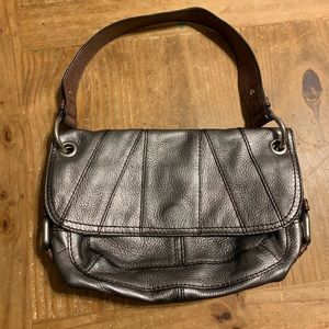 Fossil Metallic Silver Leather Shoulder Bag Purse